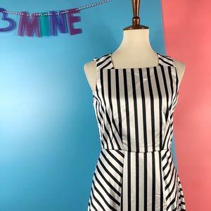 Closet Premium Satin Midi Dress In Stripe 8